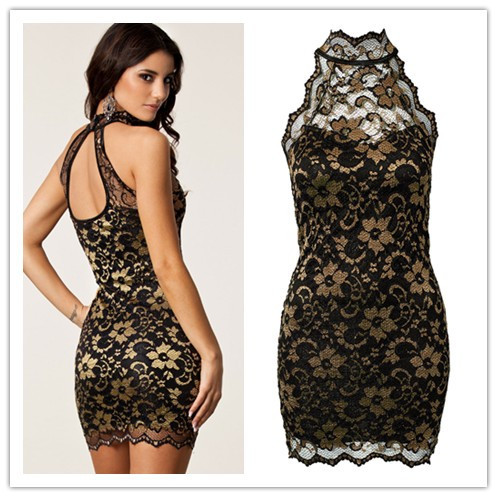 Beauty online New Sexy 2015 Fashion High Street Halter Neck Vintage Lace Dress LC21054(China (Mainland))