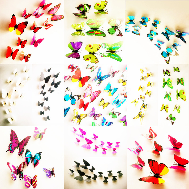DIY 3d Cute Butterfly Wall Stickers Room Accessories Art Mural Home Decor Decal House Decoration Kids Sticker Free Shipping(China (Mainland))
