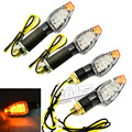 4 PCS Universal Motorcycle Carbon Fiber Housing yellow Lens 14 LED Turn Signals LED Lights Indicators