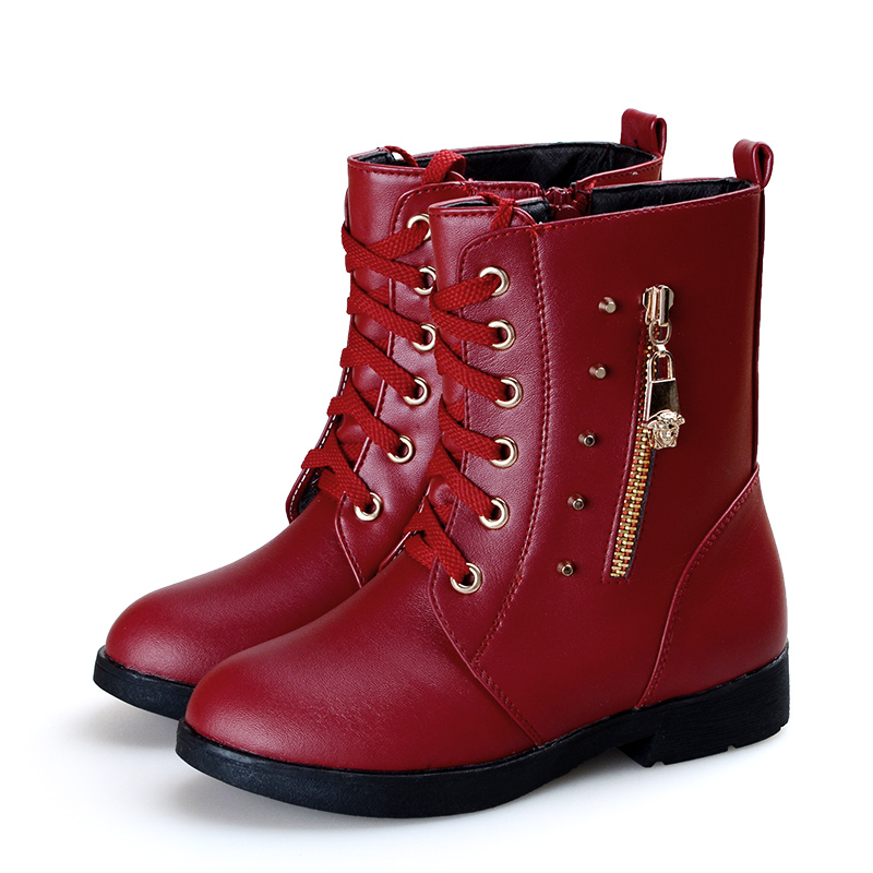 Girls 2015 new winter warm fashion leather boots cotton snow boots Korean princess shoes 31-36 free shipping