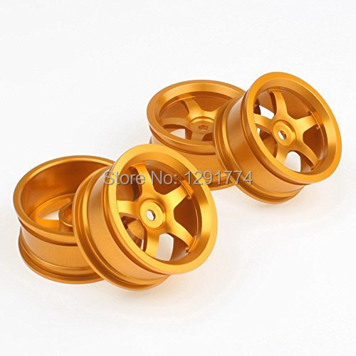 Aluminum Alloy Wheel Rims With 5 Spoke For RC 1:10 On Road Car Gold Pack Of 4(China (Mainland))