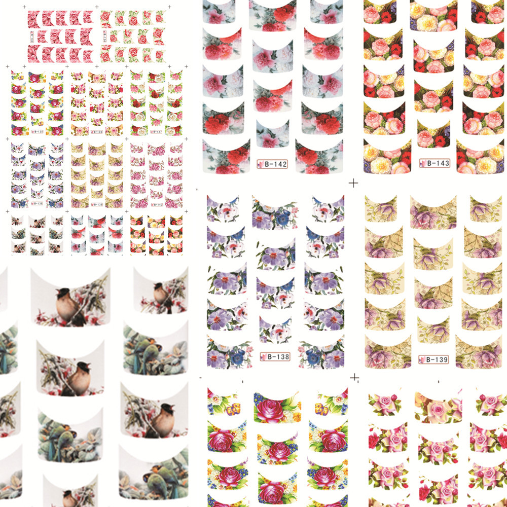 1sets 11designs B133-143 Beauty French Tips Flower Decals Women Nail Stickers DIY Water Transfer Wraps Decorations of Polis(China (Mainland))