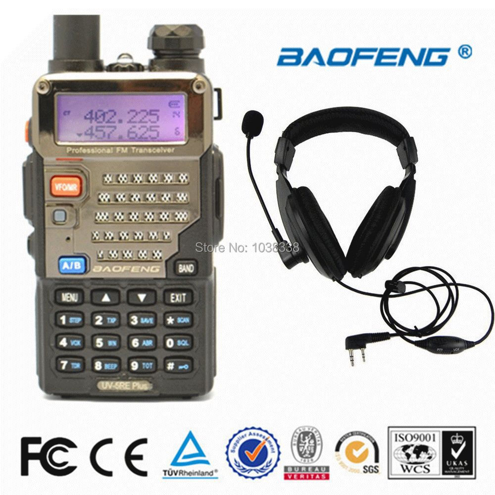 BAOFENG UV-5RE+Plus Walkie Talkie VHF/UHF Dual Band portable Ham Radio Handheld Tranceiver and Noise Reduction Air Duct Headsets(China (Mainland))