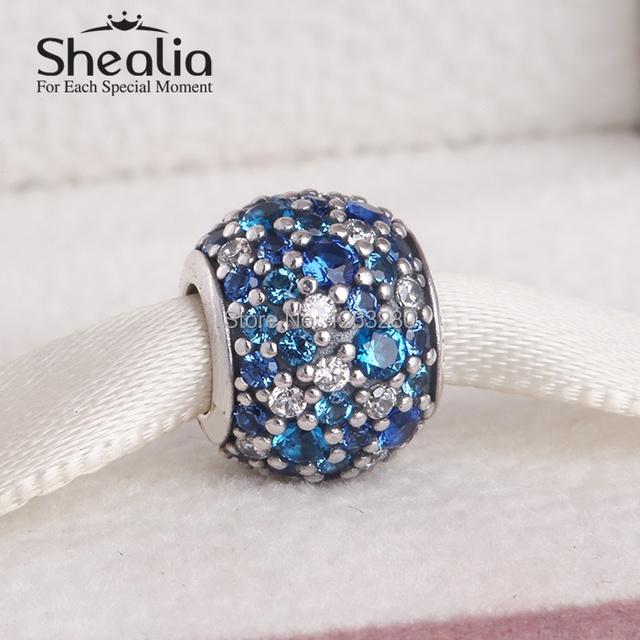 2015 летняя коллекция аутентичные 925 стерлингового серебра мозаика проложить смешанная голубой и ясно cz прелести подходит бренд diy браслеты BD232