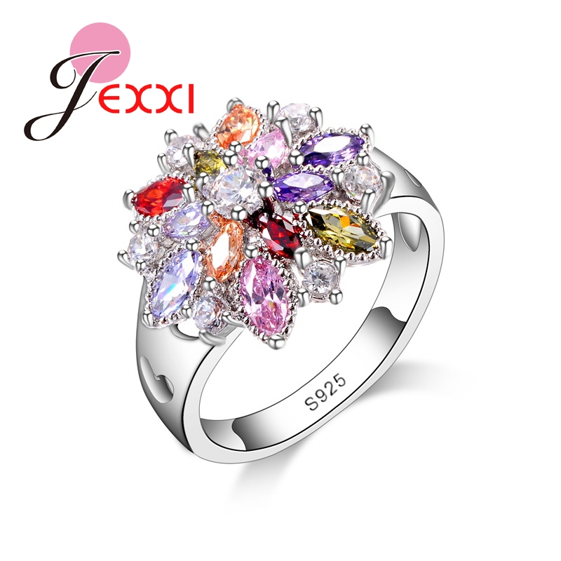 JEXXI Women Flash Colorized Crystal Jewelry Trendy 925 Sterling Silver CZ Diamond Flower Shape Finger Rings Wholesale Hot Sale(China (Mainland))