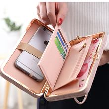 Hot Brand Design Pu Leather Solid Zipper Envelope Day Evening Clutch Wallets Phone Bags Purse Long Style Bow Wallet For Women(China (Mainland))