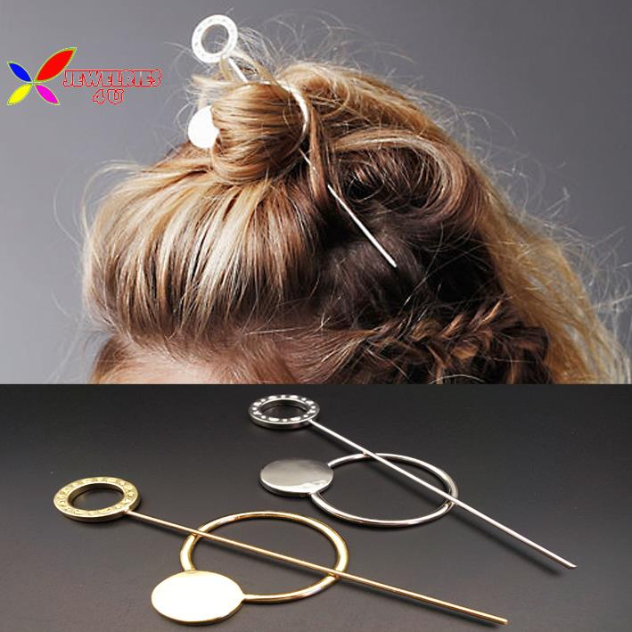 2015 fashion designer gold silver metal circle hair clasp jewelry hair sticks for women accessories varas de cabelo(China (Mainland))