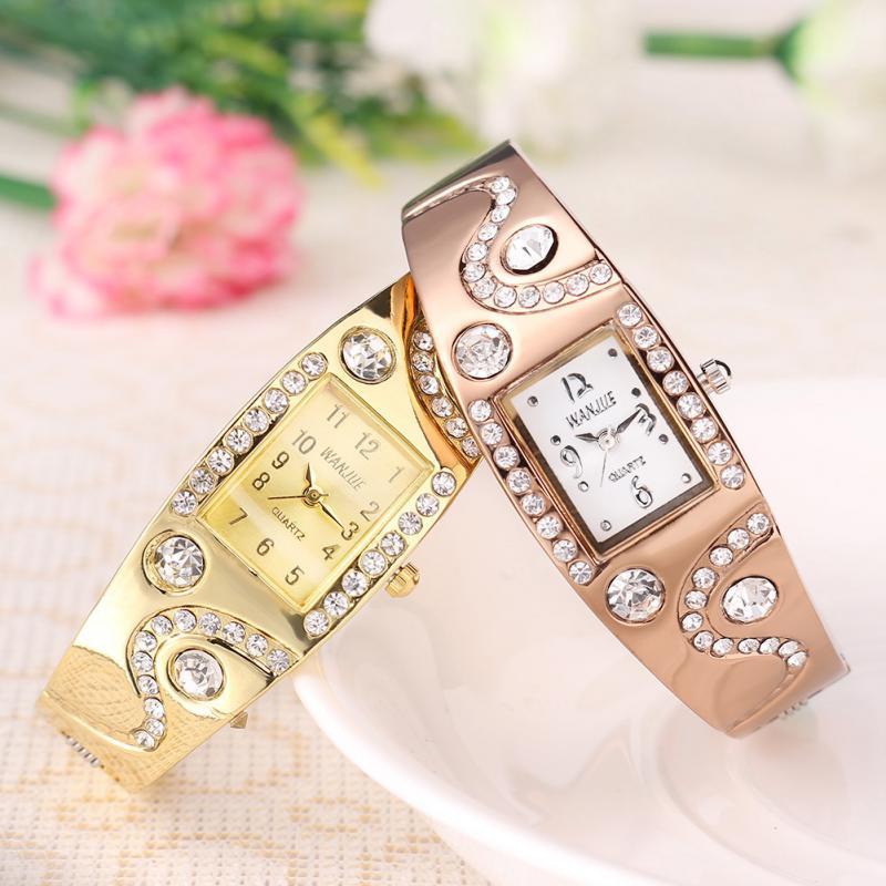 Women Bracelet Watch Rhinestone Bracelet Alloy Band Wrist Watch Gold Coffee New Fashion<br><br>Aliexpress