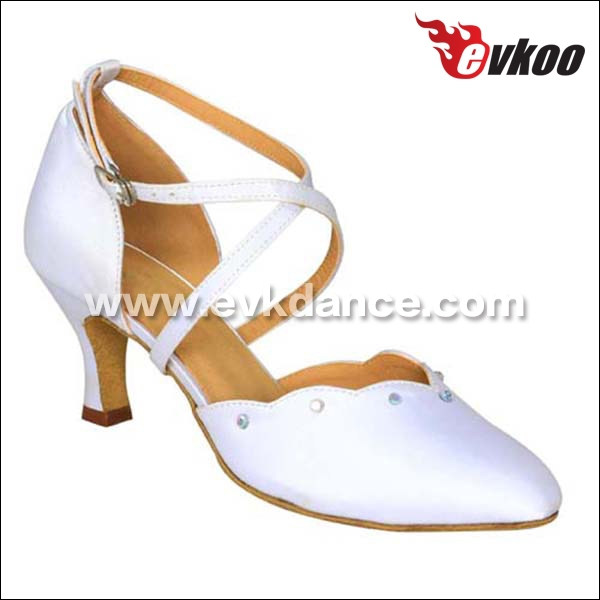 EVKOO stylish style 3 colors in available black white Tan, high quality Satin material Latin ballroom dance shoes closed toe<br><br>Aliexpress