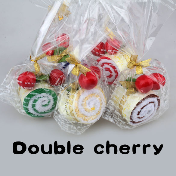 2014 Favor Roll Cotton Cake Towel Swiss With Two Cherry Top Decor Party Wedding E1IT(China (Mainland))