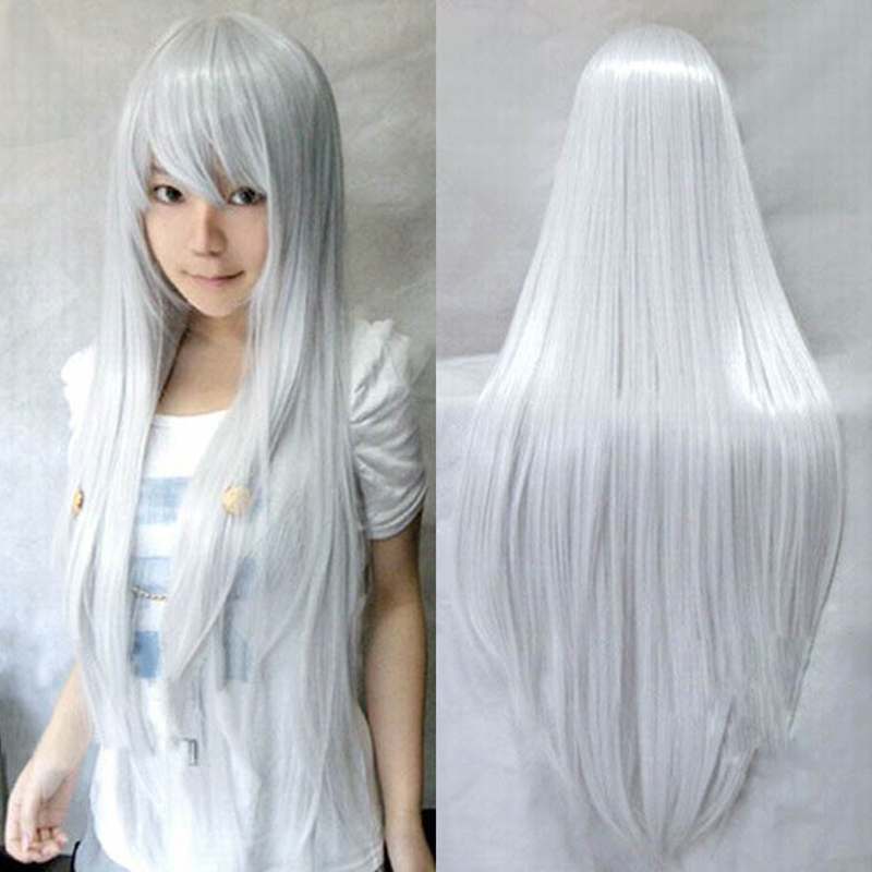 9 Colors Women Heat Resistant Straight Cosplay Wigs 80cm Bangs Anime Young Long Synthetic Hair - Shenzhen Tongfangda Company Store store