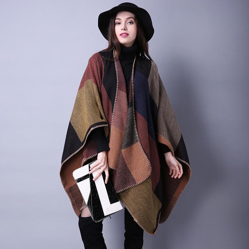 2016 New Brand Women's Winter Poncho Vintage Blanket Womens Lady Knit Shawl Cape Cashmere Scarf Poncho(China (Mainland))