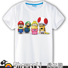 Cotton short sleeve children cute cartoon t-shirt,game boys girls figure kids despicable me clothes spring clothes free shipping(China (Mainland))