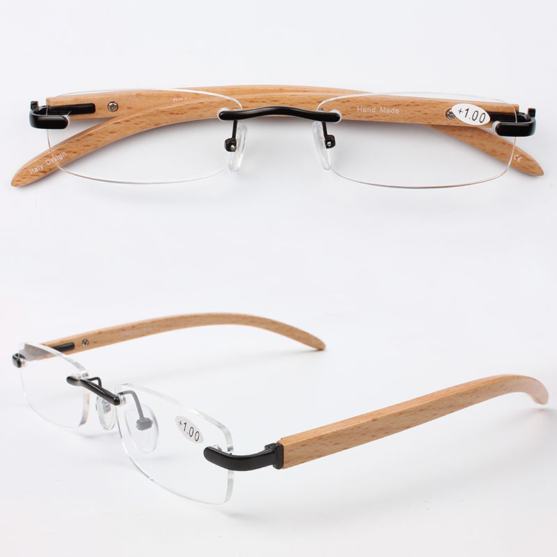 Top Quality Slim New Style Alloy Frame Wood Temple Rimless Optical Reading Glasses(China (Mainland))