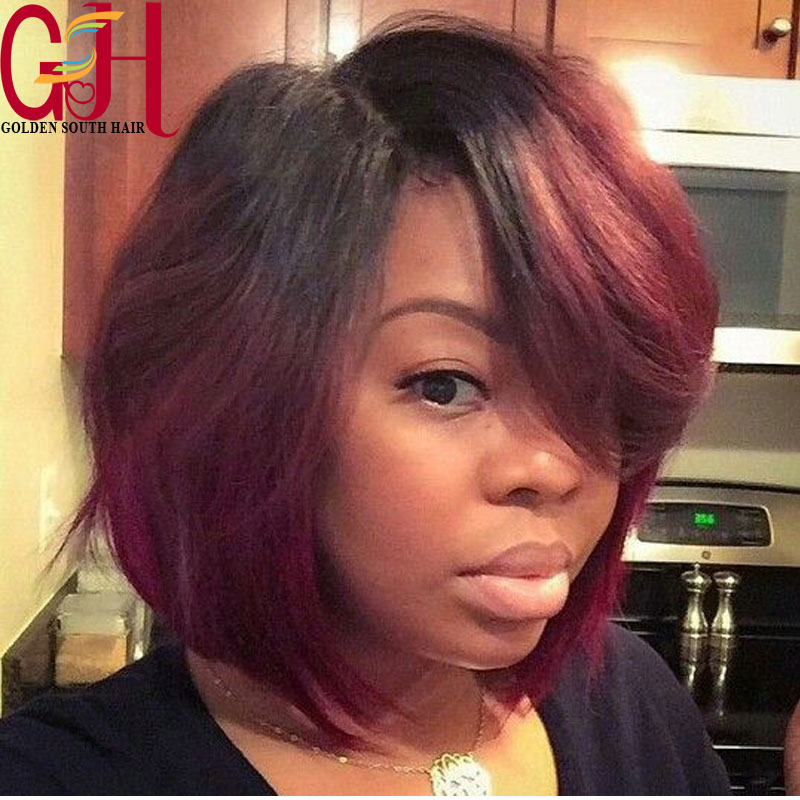 Short wave Cut Full Lace Wigs Brazilian Hair ombre bob wig Glueless Lace Front Wigs  with Baby Hair Natural Hairline 10-16inch<br><br>Aliexpress
