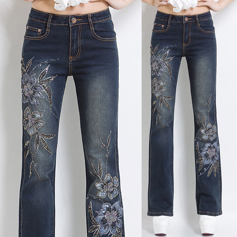 Elegant Embroidered Jeans Womens - Oasis Amor Fashion