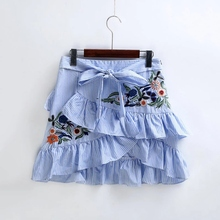 Buy Women Summer Vintage Ruffles Embroidery Striped Skirt Sexy Slim Short Pencil Skirts Bow Tied Mini Skirt Blue for $11.82 in AliExpress store
