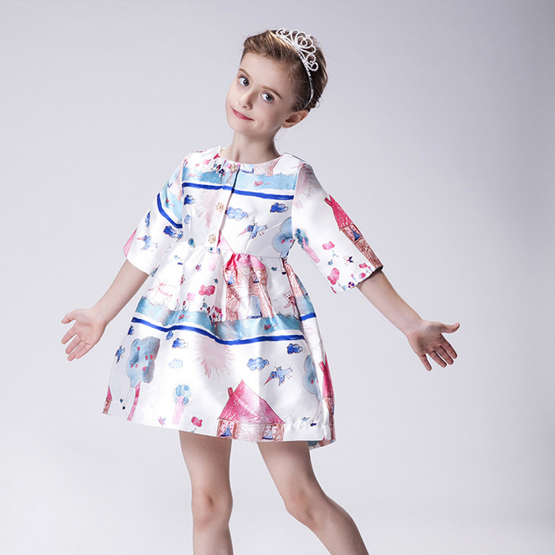 Fashion 2016 New Arrival High Quality Children Knee-Length  A-Line Print O-Neck Girl Dress CD004102