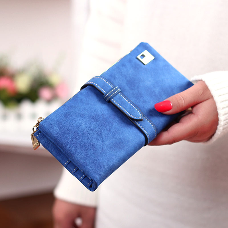 Hot Sale Fashion Women Wallets 7 Colors Matte PU Leather Zipper Soft Wallet Ladies Long Day Clutch Coin Purse Card Holder(China (Mainland))