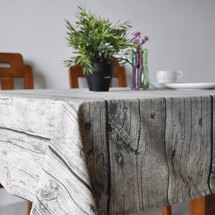 SunnyRain Wood Grain Table Cloth Cotton Linen Tablecloth For The Table Rectangle Table Cover Grey 8 Sizes Available(China (Mainland))