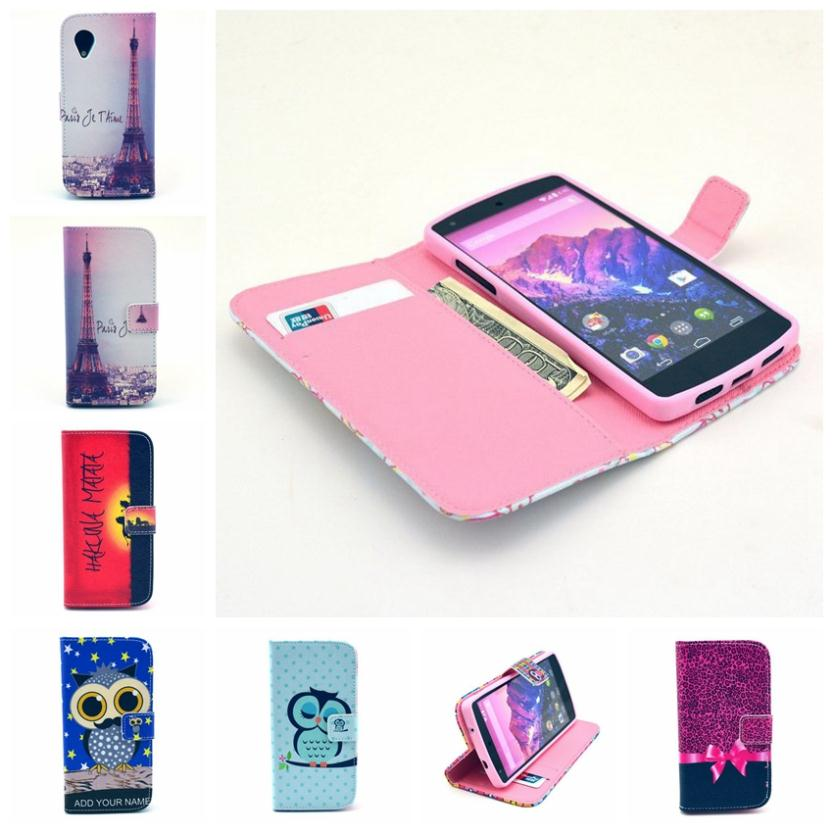 Case For LG Google Nexus 5 E980 Fashion TPU+ PU leather Wallet Stand Flip cell Phone Cases Flower Cover OA009(China (Mainland))