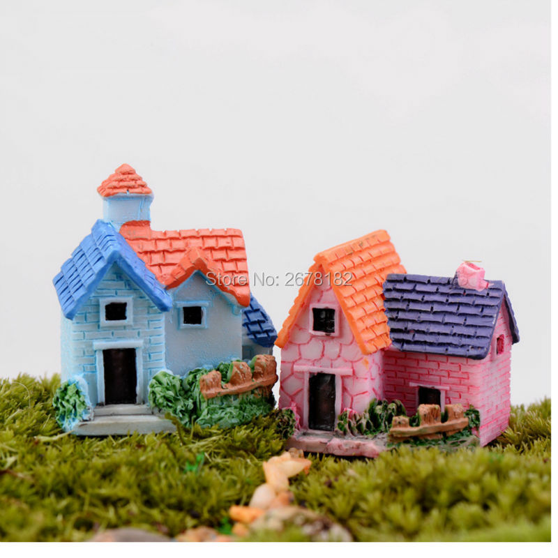 Miniature European country villa house housing micro landscape creative arts and crafts resin decoration decoration miniature(China (Mainland))