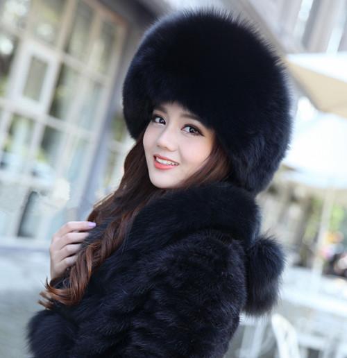 New Women's Real Fox Fur Hat Russian Style Winter Warmer Ear Cap QS037(China (Mainland))