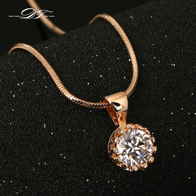 Vintage Crown CZ Diamond Necklaces &Pendants 18K Silver/Rose Gold Plated Fashion Brand Jewelry/Jewellery For Women Chain DFN390M(China (Mainland))