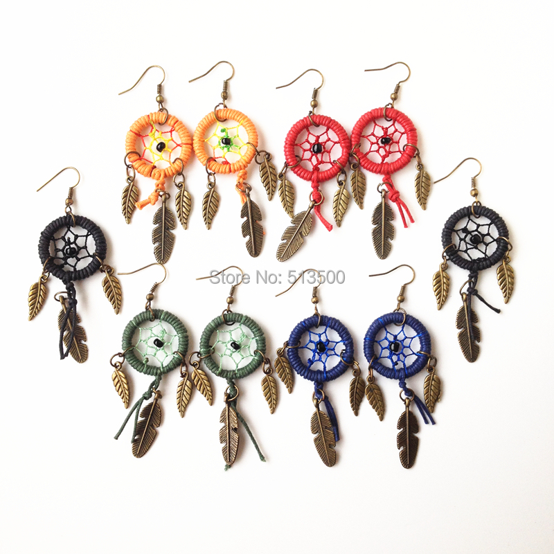 Native American Style Earring Dream Catcher earring With alloy feather charms Hot Sell Free Shipping(China (Mainland))