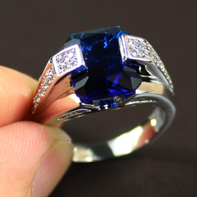 Men's 925 Sterling Silver Big Blue Sapphire Green Emerald CZ Gem Crystal Stone Ring Eternity Jewelry for Men(China (Mainland))