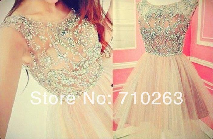 Short Prom Dresses Sparkle Crystal Beading A Line Nude Tulle Ball Gown Prom Dress KM-32 Custom Size and Color 4 6 8 10 12 14 16(China (Mainland))