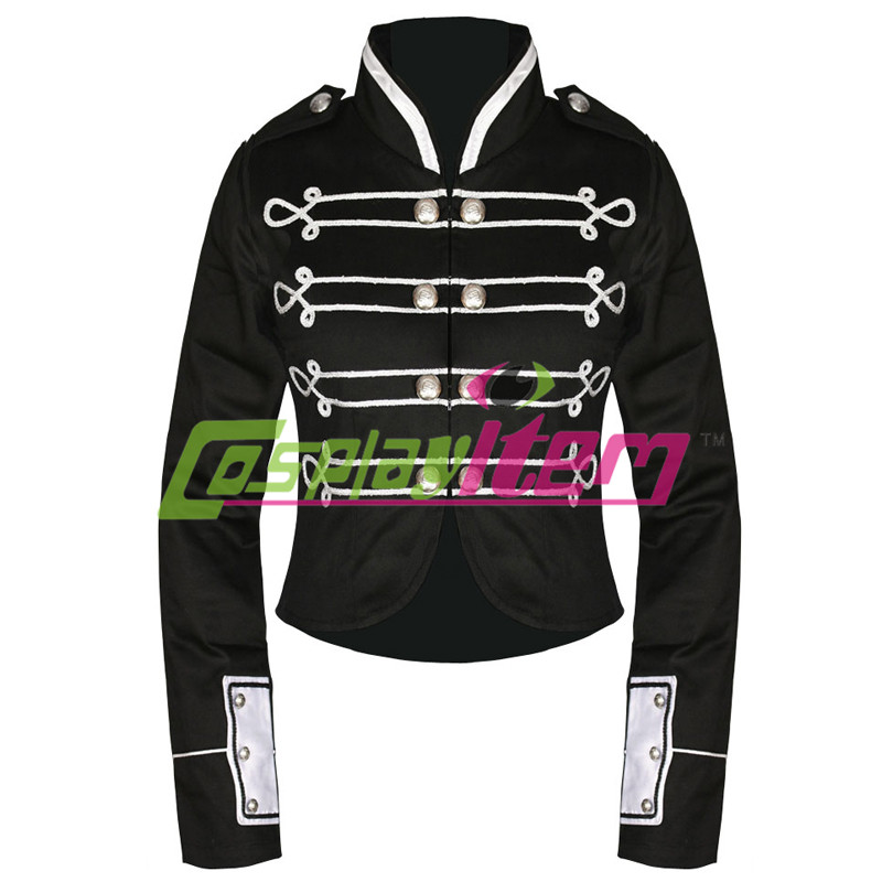 Free shipping Black Silver My Chemical Romance Crop Military Jacket military style cropped mini jacket by CRIMINAL DAMAGEОдежда и ак�е��уары<br><br><br>Aliexpress