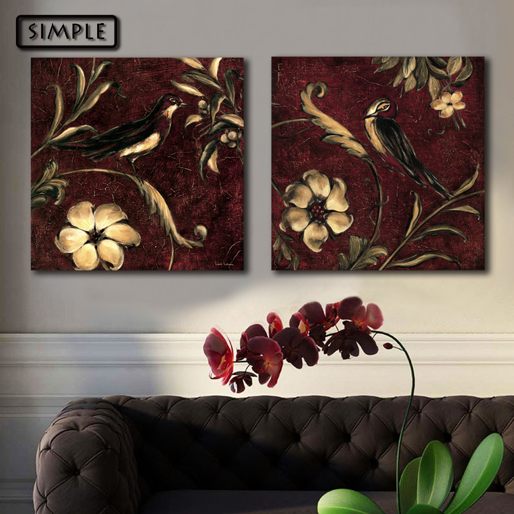 Oil Painting Canvas Flower and birds Wall Art Decoration Home Decor On Canvas Modern Wall Picture For Living Room(3PCS)(China (Mainland))