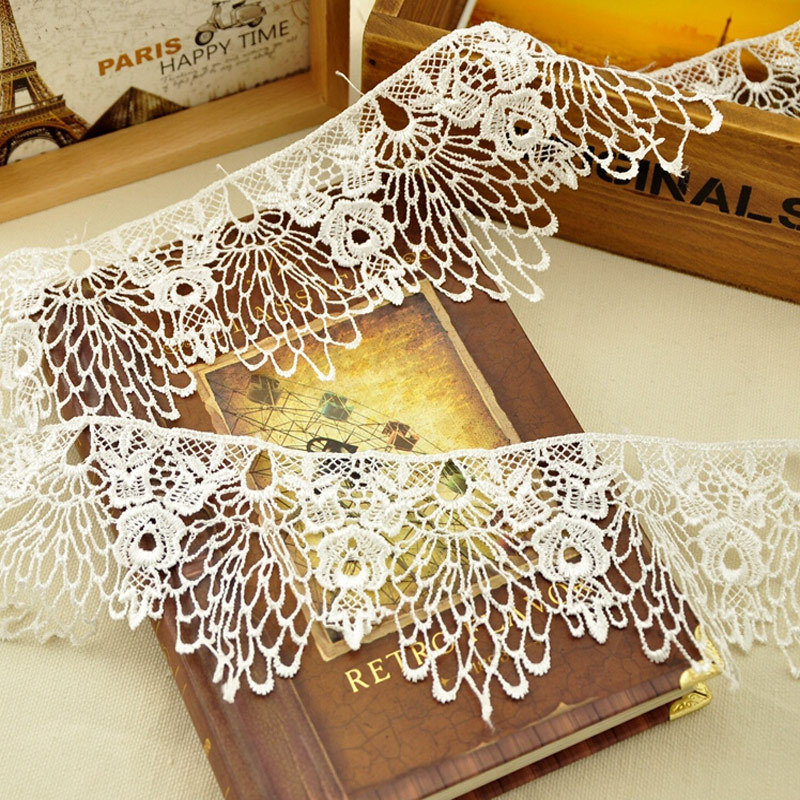 2 Meters White DIY Trims Hollow Out Design Water Soluble Lace Ribbon Wedding Bride Dress Sewing