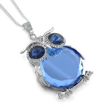 2016 New Blue Rhinestone Crystal Owl Pendant Necklace Animal Long Sweater Chain Silver Necklace Jewelry Women Fine Jewelry wn011(China (Mainland))