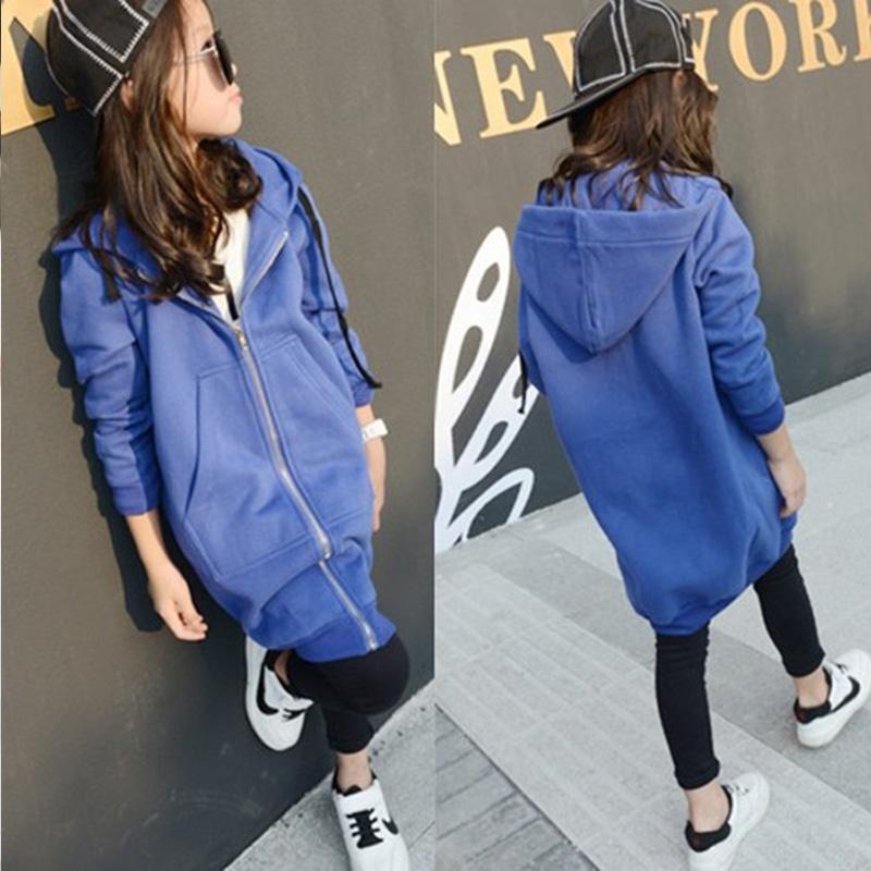 autumn little big girls jackets coats hooded long sweatshirts black blue outwear sleeve zipper children