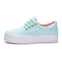 2015 New Style Solid Lace Up Women Canvas Shoes Platform Sneakers Casual Low Top Thick Sole