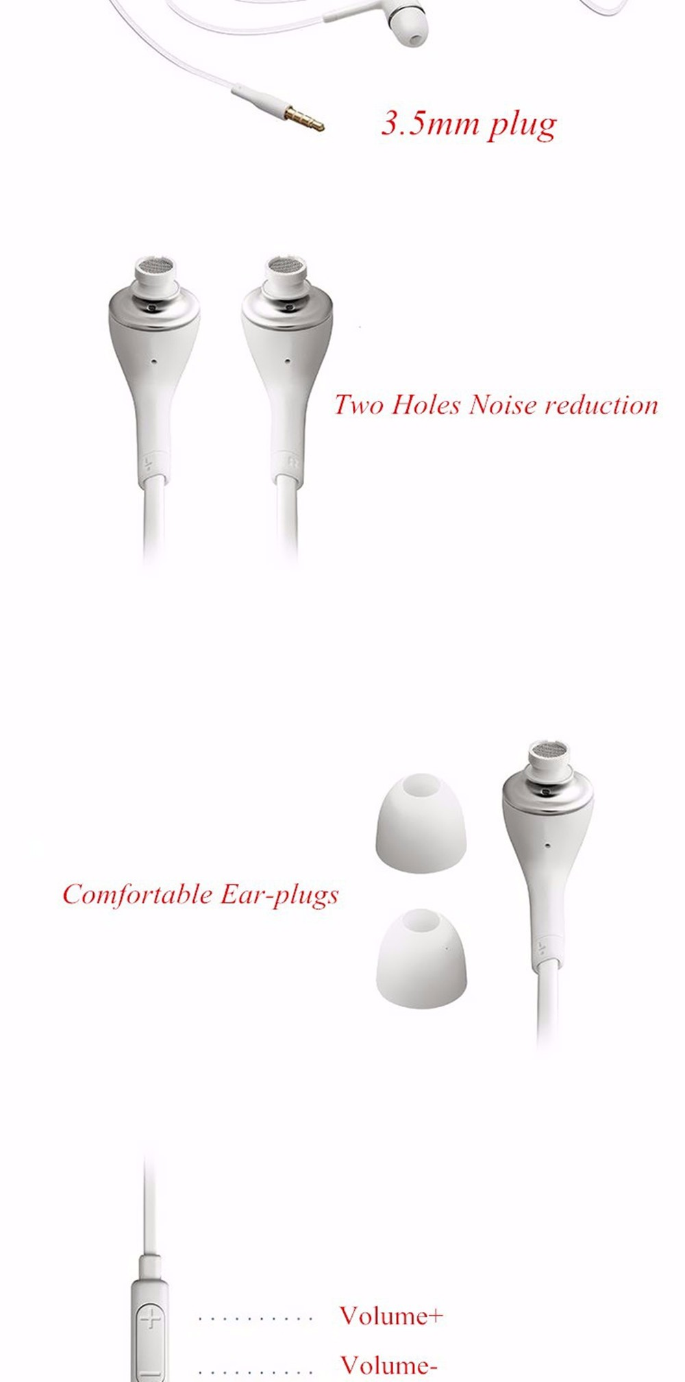 100% New White Earphone With Volume&Mic For Samsung Galaxy S2 S3 SIII Galaxy Note Galaxy Note2 flat cable earphone