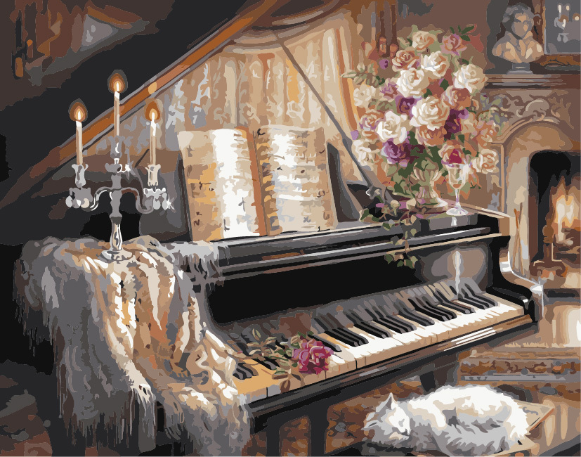 Frameless picture on wall acrylic paint by numbers diy painting by numbers Christmas gift coloring by numbers piano(China (Mainland))