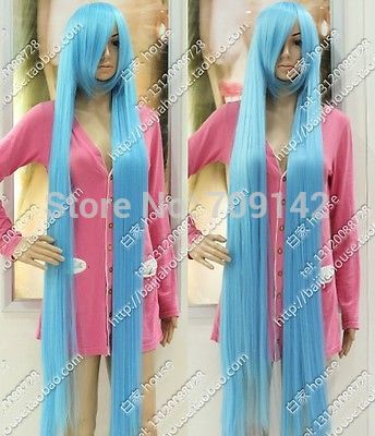 150 cm Long Straight Hair Light Blue Celeste Extended High Thickening WIG Kanekalon made Brazilian no lace front wigs<br><br>Aliexpress