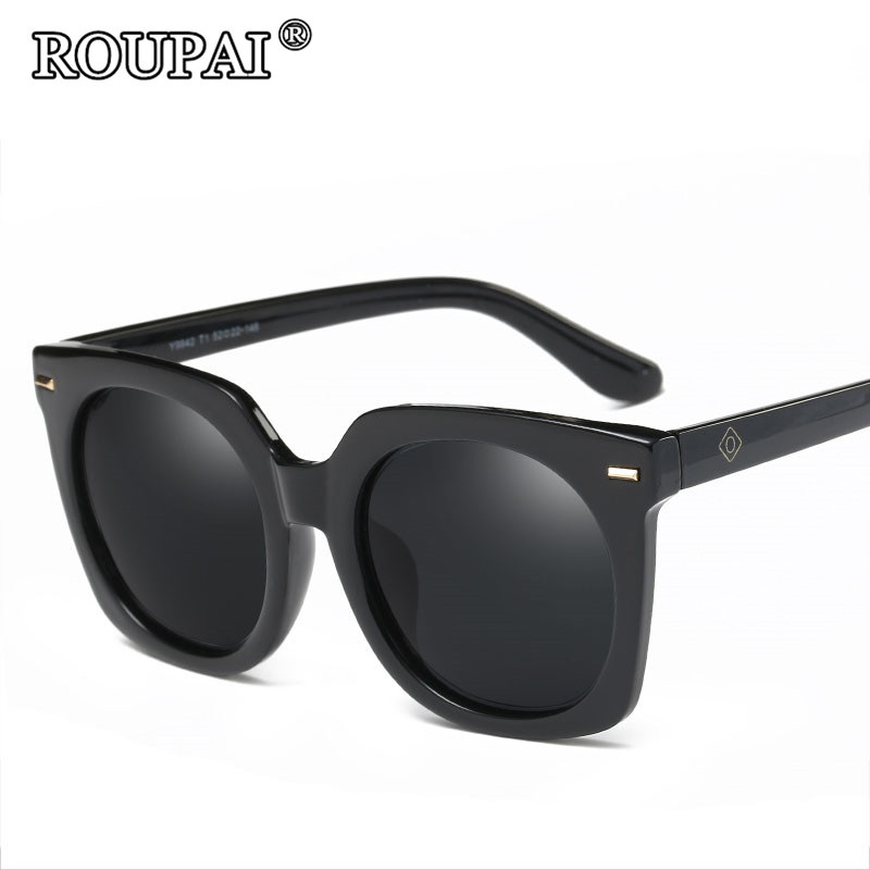 roupai brand 2017 fashion big frame sunglasses men polarized uv400 high quality coating sun glasses vintage