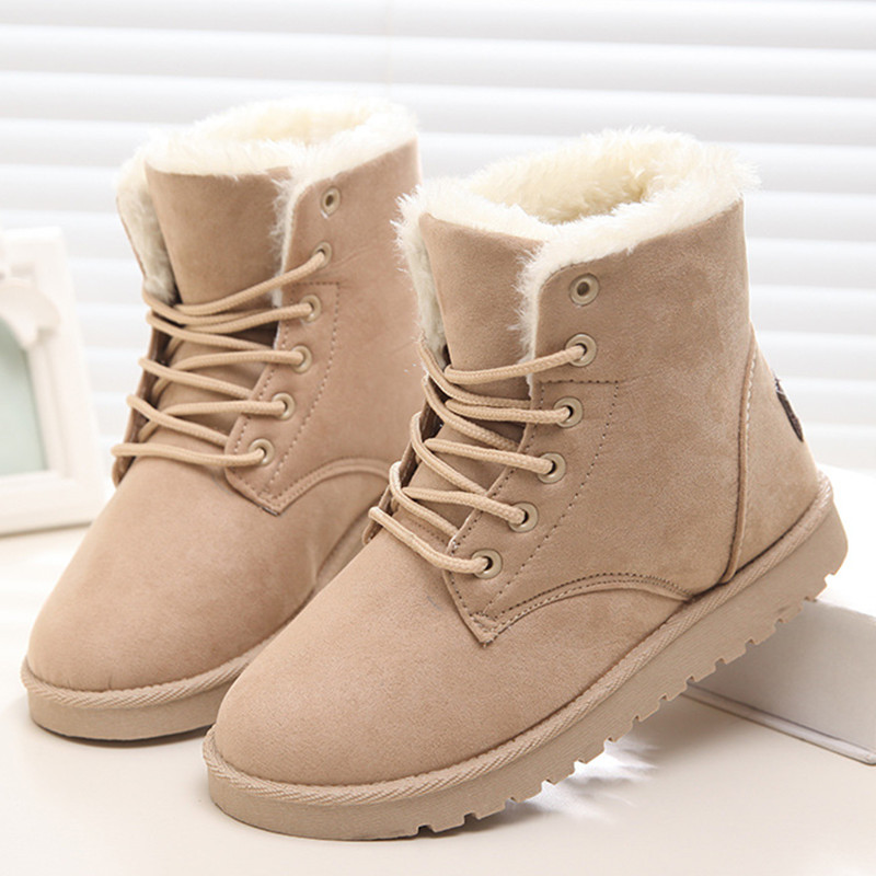 2016 New Warm Winter Boots For Women Ankle Boots Waterproof Snow Girls Boots Female Shoes Suede with Plush Insole Botas Mujer(China (Mainland))