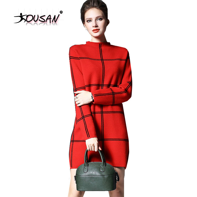 Winter Clothing Women's Long Sleeve Casual Cashmere sweater Pullover Sweater Dress Ladies Jumper Knitwear Tops ZY005