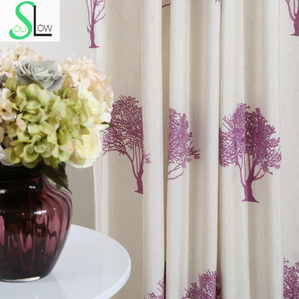 Texture Tree Cotton High Density Embroidery Curtain Multicolor French Window Plant Curtains Living Room Modern Children Sheer(China (Mainland))