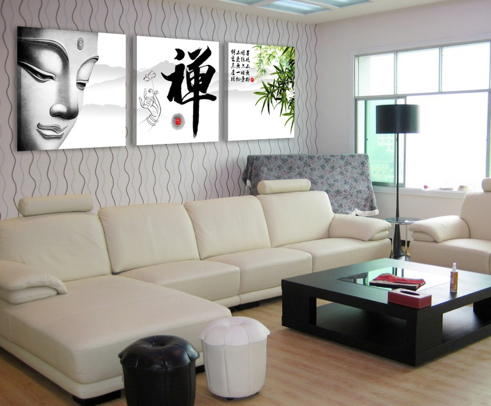 Free shipping 3 panel wall art pictures on the for Zen home decorations