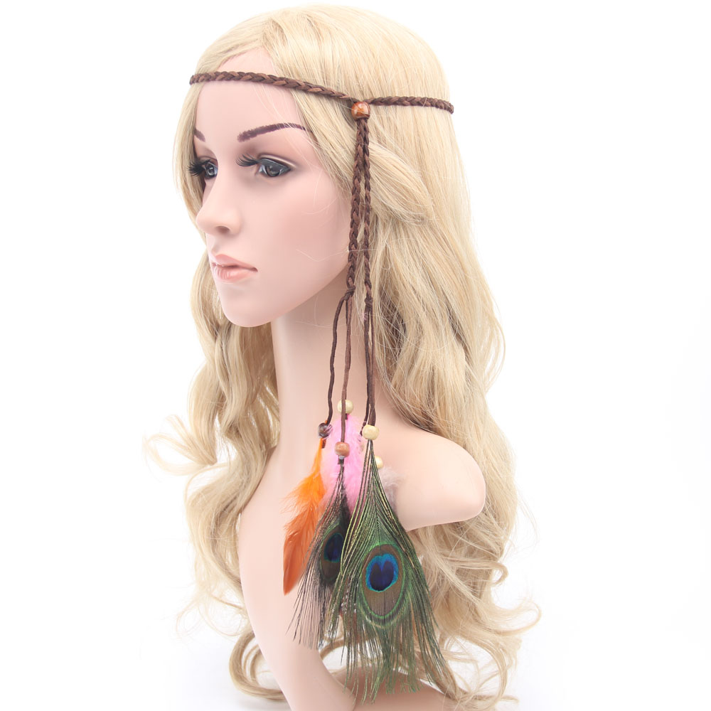 Elegant Women Hair Ribbons Accessories Flocking Hair Band Indian Peacock Tribal Feather Headband Knitted Rope with wood beads(China (Mainland))