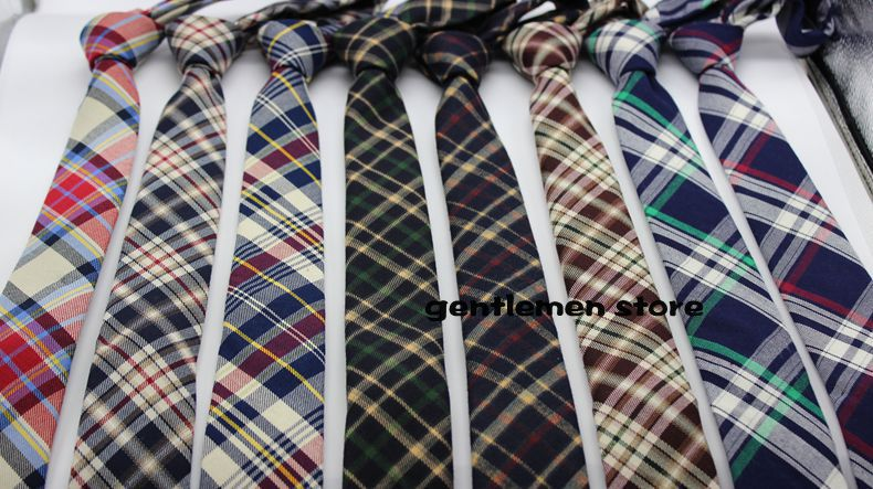 5 piece lot new men tie england font b tartan b font skinny tie cotton tie