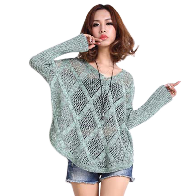 Knitting Sweater Patterns For Women : Oversized Sweater Diamond Pattern Hollow Out Knitted Sweater V Neck Loose Pul...