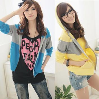 2013 autumn solid color women's long-sleeve fashion slim outerwear thin sweatshirt