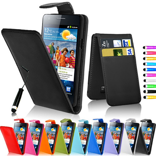 Up Down Flip PU Leather Case for Samsung Galaxy S2 i9100 Cases Card Slot Magnetic Wallet Case for Samsung i9100 S2 w/ touch pen(China (Mainland))